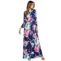 AOVEI Lake Blue Floral Print Long Sleeve Beach Party Long Maxi Dress Robe - $29.99