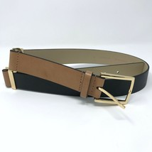 New Ann Taylor Small Leather Colorblock Belt Tan Black Gold Hardware Adj... - $27.88