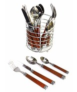 Rainbow Elite Stainless Steel Flatware 24-Piece Set With Wood Design Han... - $28.01