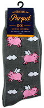 When Pigs Fly Socks Mens Novelty Crew Gray Casual Cotton Blend Animal So... - $12.95