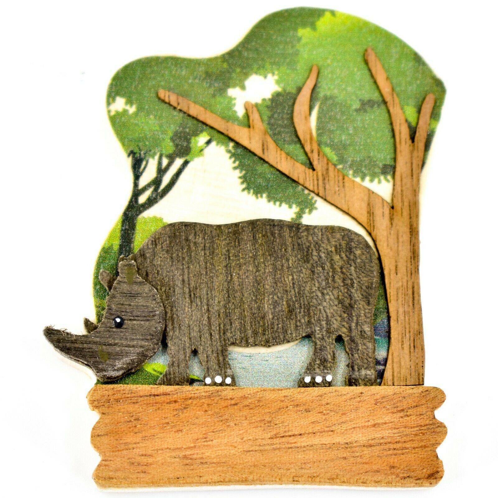 Northwoods Layered Wood Rhinoceros Rhino Habitat Refrigerator Magnet