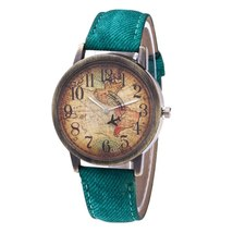 Ladies Watches Fashion Vintage World Map Printing Women Watches TkHirmoly Green - $12.99