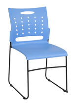Offex Ergonomically Contoured Blue Sled Base Stack Chair with Air Vent Back - $61.05