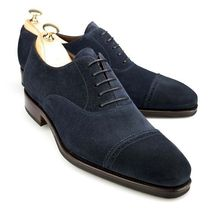 Handmade Men's Black Two Tone Dress/Formal Suede Oxford Shoes image 3