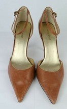 Nine West Arnaud women's pumps heel ankle strap brown leather upper size... - $25.89