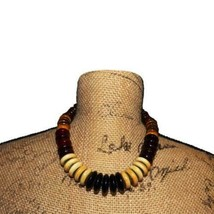 Resin & Wood Multicolored Beaded Necklace - $9.90