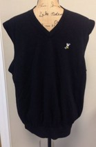 Fairway & Greene Men's Black Golf Sweater Vest 100% Merino Wool Sz L - $18.69