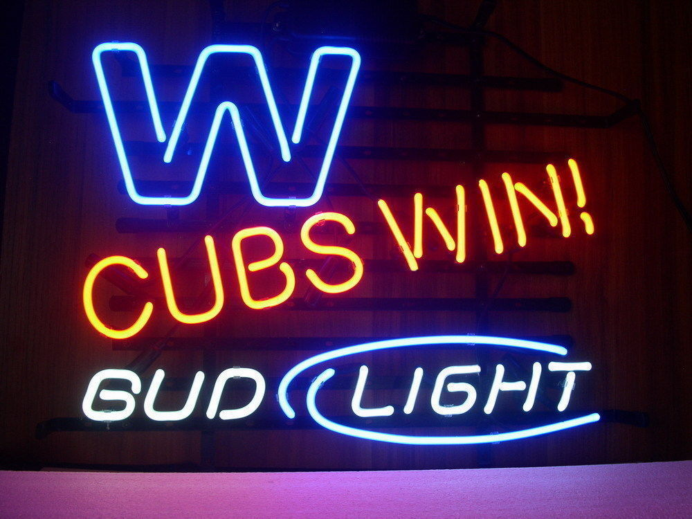 "New Bud Light Chicago Cubs World Series Beer Real Glass Neon Sign 20""x16"""