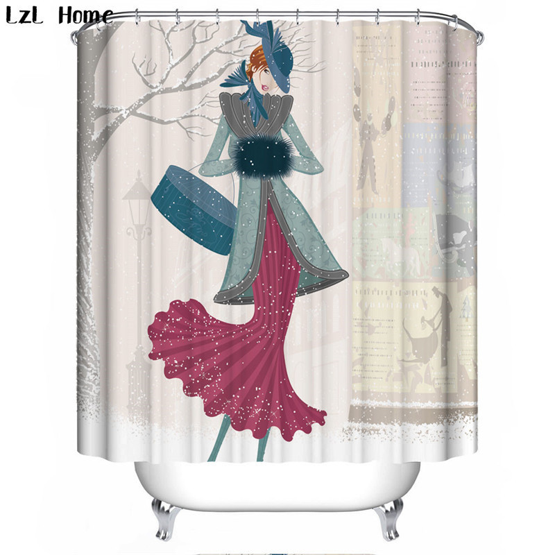 Sexy Woman 13 Shower Curtain Waterproof Polyester Fabric For Bathroom
