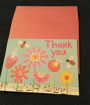 1-Galison glittered flower/bee blank THANK YOU CARD-pink envelope - $2.25