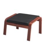 Ikea Poang Medium Brown Ottoman Glose Robust Black Leather Cushion - NE... - $239.99