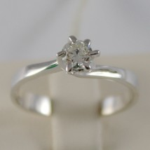 18K WHITE GOLD SOLITAIRE WEDDING BAND CROWN RING DIAMOND 0.33 MADE IN ITALY image 1
