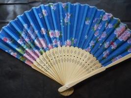 Beautiful Blue Silk Fan with Floral Flowers Handheld Fan Folding Fans As... - $9.99