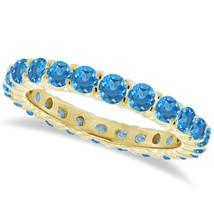 1CT Blauer Topas Ewigkeit Ring 14K Gelbgold - £456.29 GBP+