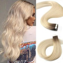 Caliee Salon Quality 20 Inch Remy Tape in Hair Extensions Human Hair R#2/60 Plat