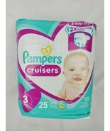Pampers Cruisers Diapers 25ct Size 3 Jumbo Pack 3-Way Fit 12 Hours - $9.50