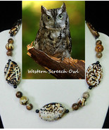 Western Screech Owl artisan handcrafted genuine crackle agate, shell, ch... - $80.00