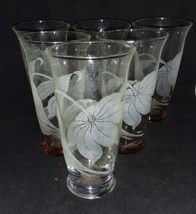 6 Acid Etched Flower 12 Ounce Glasses Variety of Colors on The Base Not ... - $18.99