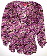 SUNNY LEIGH Shirt MEDIUM Sheer Button Front w/Ruffle 3/4 Sleeve Blouse T... - $19.79