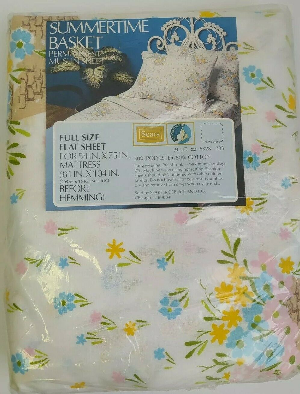 Primary image for VINTAGE SEARS FULL FLAT BED SHEET NIP NOS SUMMERTIME BASKET FLORAL FLOWERS