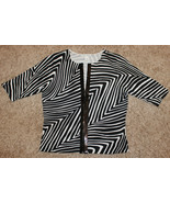 WHITE HOUSE BLACK MARKET ZEBRA SHORT SLEEVE TOP FRONT HOOK CLOSURE SEQUI... - $9.99