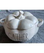 "Rae Dunn ""Gather"" Serving Pumpkin Dish w/ Lid RARE THANKSGIVING LL New - $29.96"