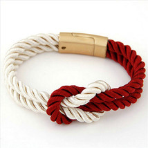 2017 Hot Trendy Fashion Braided Rope Chain with Magnetic Clasp Bow Charm Leather - $11.95