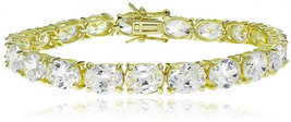 Hoops and Loops Yellow Gold Flash Sterling Silver Oval Cubic Zirconia 9x... - $172.53