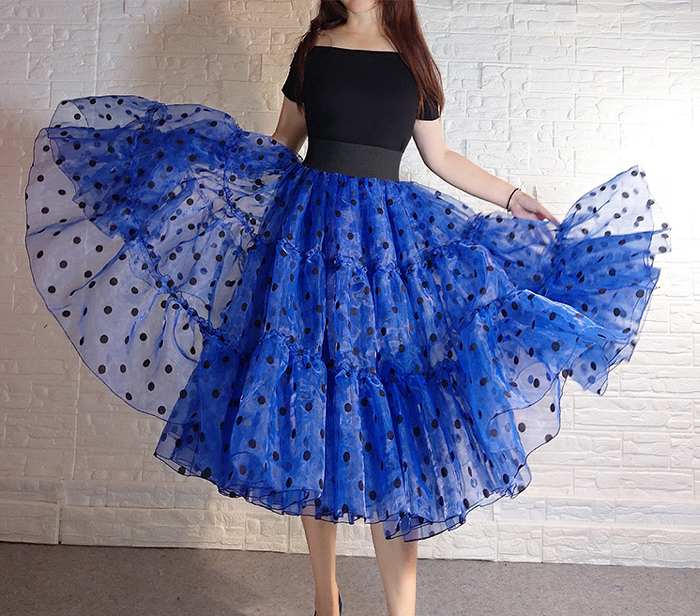 Royal Blue Polka Dot Tutu Skirt A-line Layered Puffy Midi Organza Tutu Skirt