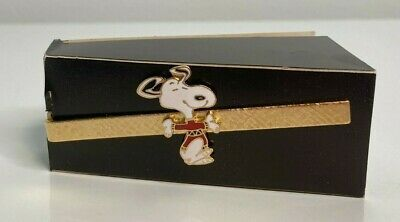 "Primary image for SNOOPY Aviva Running Happy Joyful Peanuts Cartoon Vintage 3"" Tie Clip Bar NOS"