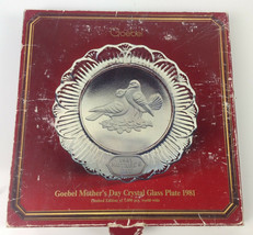 Vintage Goebel 1981 'Mother's Day' Crystal Glass Plate - $14.84