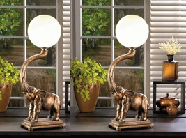 Trumpeting Elephant with White Globe Figurine Table Lamp Set of 2 - $147.95