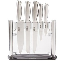Kitchen Knife Set Stainless Steel W Clear Acrylic Stand 6 PC Knives Cutl... - $34.60
