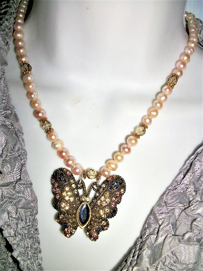 Primary image for  Handmade in USA BUTTERFLY NECKLACE  FW peach  PEARls +  RHINESTONE