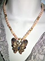 Handmade in USA BUTTERFLY NECKLACE  FW peach  PEARls +  RHINESTONE - $23.76