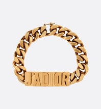 AUTH NEW Christian Dior 2019 J'ADIOR LOGO CHAIN AGED GOLD BRACELET