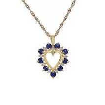"0.65 Carat Sapphire & 0.15 Carat Diamond Open Heart Pendant With 16"" Chain 14K Y - $375.21"