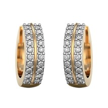 14K Yellow Gold Fn 2 Row Channel Set Hoop Earrings 1Ct Round Cut D/VVS1 ... - $148.35 CAD