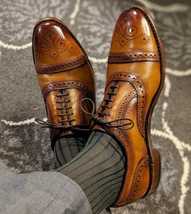 Handmade Men's Brown Leather Heart Medallion Lace Up Dress/Formal Oxford Shoes image 3