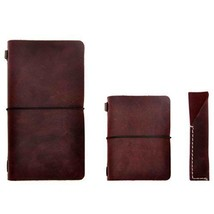 Leather Journal Traveler Notebook Notepad with Pen Holder Vintage Color ... - $54.55