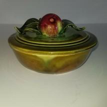 Maurice California Pottery Lidded Bowl Dish AP504 Apple USA EUC - $31.79