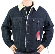 NEW NWT LEVI'S MEN'S CLASSIC CORDUROY NAVY FUR TRUCKER JACKET 705205036