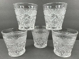 5 Imperial Glass Ohio Cape Cod Clear Marmalade Set Vintage Glasses Mid C... - $98.67