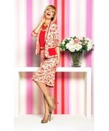 Skirt Set Career Stretch Printed MADE IN EUROPE Pencil Skirt 3/4 Sleeve ... - $124.00