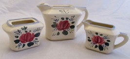 Hand Painted Teapot Creamer and Sugar Miniature Vintage Made in Japan - $12.86