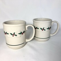 2 Longaberger Traditional Holly Christmas Mugs Woven Traditions Pottery Coffee - $24.70