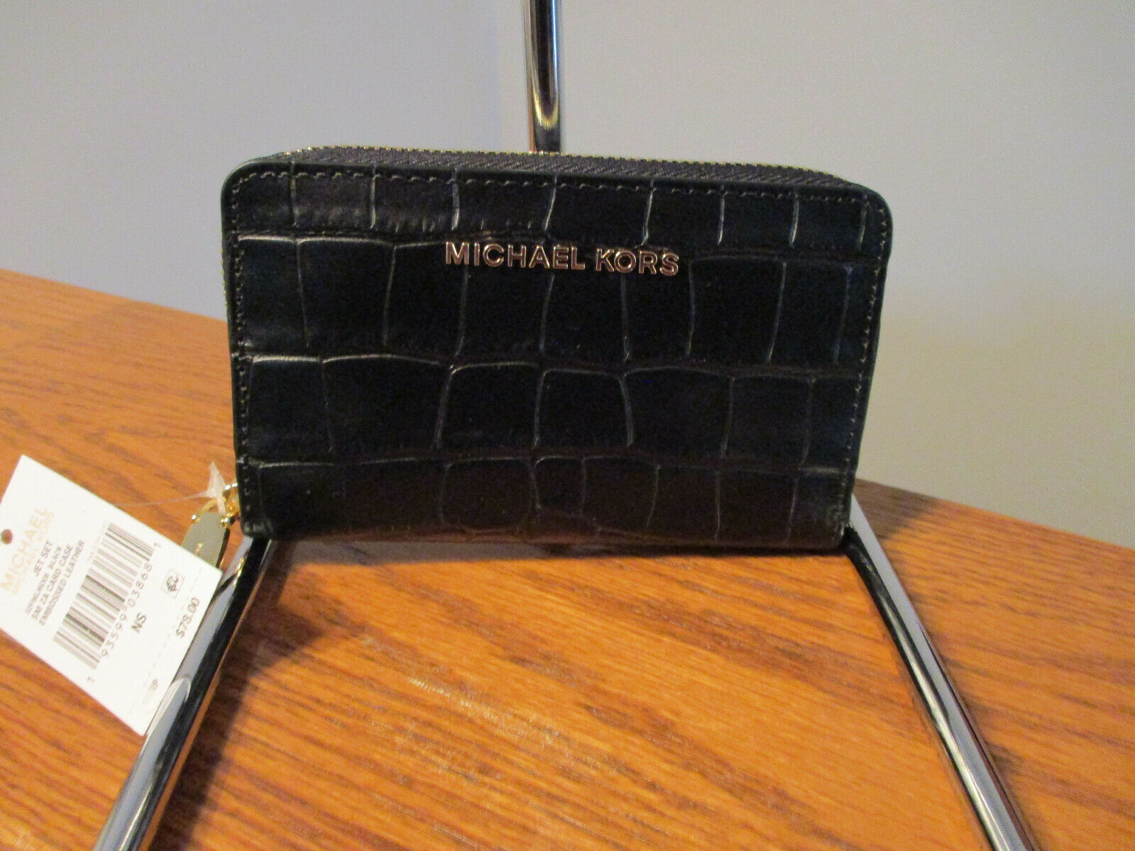 Primary image for Authentic Michael Kors JetSet Small ZA Card Case Embossed Black Leather NWT