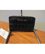 Authentic Michael Kors JetSet Small ZA Card Case Embossed Black Leather NWT - $54.44