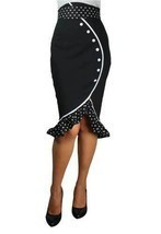RUFFLES BLACK HIGH WAIST ROCKABILLY PIN UP RUFFLED POLKA DOT PENCIL SKIR... - $44.06+