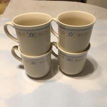 VINTAGE Corning Ware Needlepoint Coffee Mugs Cups Beige Set 4. - $15.79